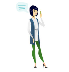 Young asian business woman with speech bubble vector