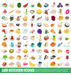 100 kitchen icons set isometric 3d style vector image