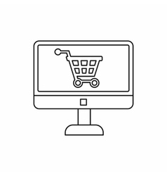 Purchase at online store through computer icon vector