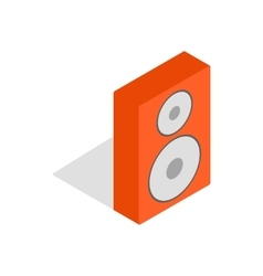 Orange speaker icon isometric 3d style vector