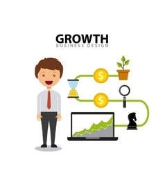 Business growth funds flat icons vector