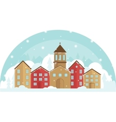 Peaceful village in a snow and trees winter vector