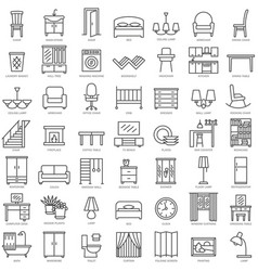 Indoor furniture linear icons set vector