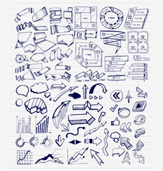 mega collection of hand drawn arrow charts vector image