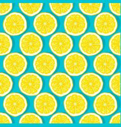 lemon slices blue background seamless pattern vector image