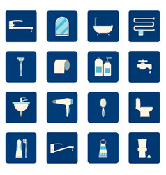 16 bathroom icons set vector image