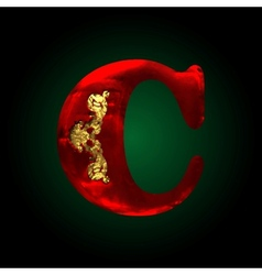 Velvet c letter with gold vector