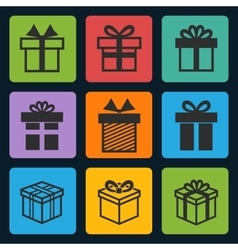 Black gift box icons set vector