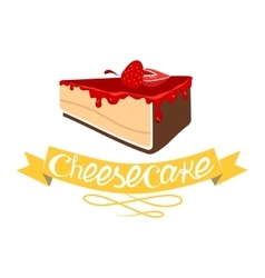 Cheesecake with strawberry jam vector