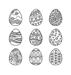 Set of hand drawn doodle easter eggs vector
