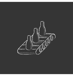 Conveyor belt system drawn in chalk icon vector