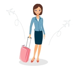 Woman in a business suit with luggage business vector