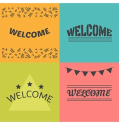 Welcome postcards collection decorative elements vector