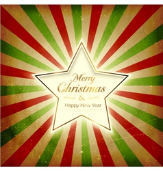 Vintage light burst christmas card with star vector