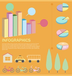 An infographics with a pie and bar graphs vector