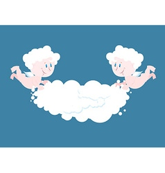 Angel and cloud two little angels keep cloud place vector