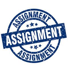 Assignment blue round grunge stamp vector