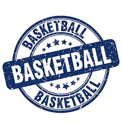 Basketball blue grunge round vintage rubber stamp vector