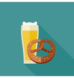 Beer and pretzel icons vector image vector image