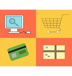Buying process in the online shop vector image vector image