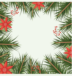 christmas ornament background with colorful pine vector image vector image