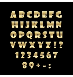 English golden alphabet on a black background vector image