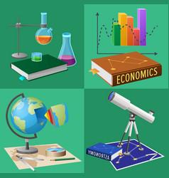 Equipment for subjects studies set vector