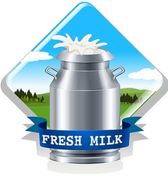 Fresh milk with text vector image vector image