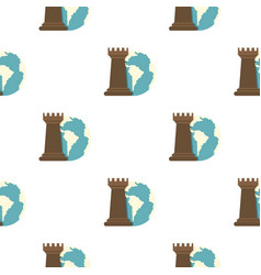 Globe earth and chess rook pattern flat vector