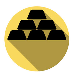 Gold simple sign flat black icon with vector