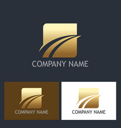 gold square loop abstract company logo vector image vector image