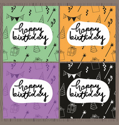 Happy birthday set of colorful greeting cards vector