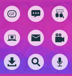 Internet icons set collection of gif sticker vector