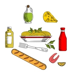 Italian pasta food with ingredients vector