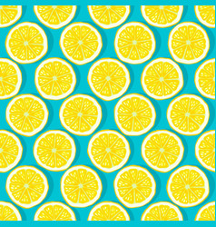 lemon slices blue background seamless pattern vector image vector image