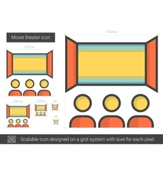 Movie theater line icon vector