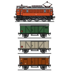 Old electric material train vector