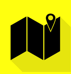 pin on the map black icon with flat style shadow vector image
