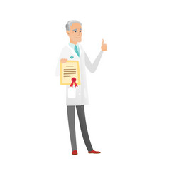 Senior caucasian doctor holding a certificate vector
