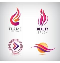 set of abstract wavy logos arrow flame vector image vector image