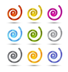 Set of spiral and swirls icons vector image