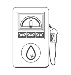 Silhouette with fuel dispenser machine vector