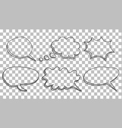 Speech bubbles icon set hand drawn on isolated vector