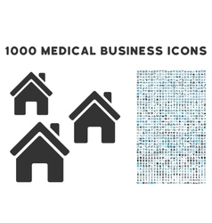 Village buildings icon with 1000 medical business vector
