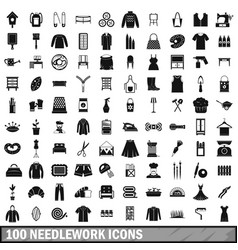 100 needlework icons set simple style vector