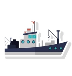 Isolated fishing boat ship design vector