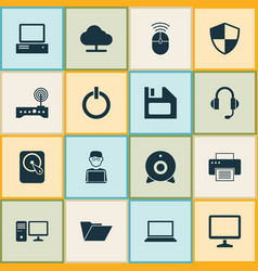 laptop icons set collection of router hdd vector image