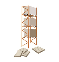 Cargo shelf with shipping box and pallet vector