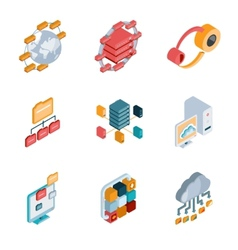 Big data analysis icons vector