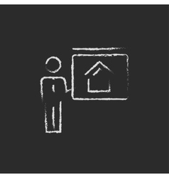 Real estate agent showing the house icon drawn in vector